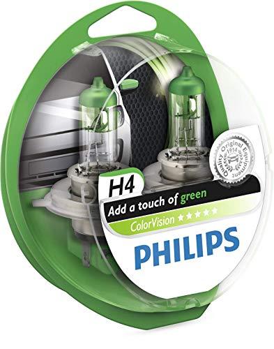 Philips 36787428 ColorVision Scheinwerferlampe H4 2-er Kit, grün