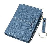 JOSEKO Brieftasche Damen, Kleine Geldbörse Damen mit Mehreren Steckplätzen aus PU Leder Kartenhalter Portemonnaie Frauen mit Schlüsselring für Mädchen (Blau)