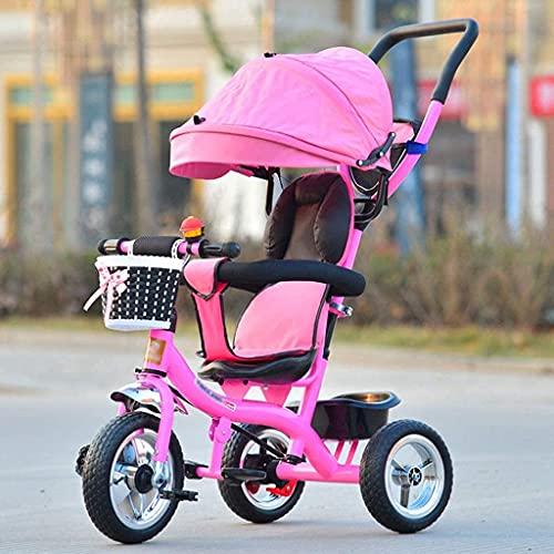 QTWW Dreirad Trike Kinderwagen Kinderdreirad High-Carbon Stahl Kinderwagen Schiebefahrrad Kind Selbstfahrer Kinderwagen Faltbar/E