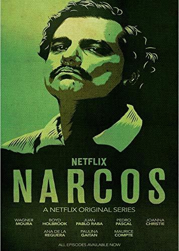 yaoxingfu Rahmenlose Narcos Kolumbien Pablo Emilio Escobar Gaviria Verbrechen TV-Serie Vintage Poster Leinwand Malerei DIY Wandkunst Home Bar Poster Dekor 50x60cm