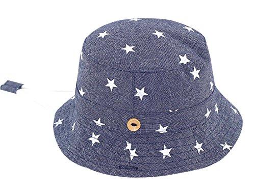 Happy Cherry - Sombrero Verano para Niños Gorra con ala Bucket Estampado Estrella Suave Protección de Sol Infantil Playa - Azul - 3-6 años