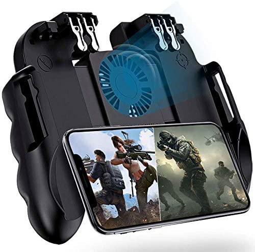 4 Trigger Mobile Game Controller with Cooling Fan for PUBG/Call of Duty/Fortnite [6 Finger Operation] YOBWIN L1R1 L2R2 Gaming Grip Gamepad Mobile Controller Trigger for 4.7-6.5″ iOS Android Phone