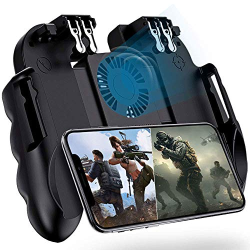 "4 Trigger Mobile Game Controller with Cooling Fan for PUBG/Call of Duty/Fotnite [6 Finger Operation] YOBWIN L1R1 L2R2 Gaming Grip Gamepad Mobile Controller Trigger for 4.7-6.5"" iOS Android Phone"