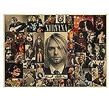 KELDOG® Affiche Imprime Wall Art Photo Kurt Cobain Nirvana Rock Impression sur Toile Affiche Cafe Bar Affiche rétro Affiche Wall Sticker 42X60 Cm sans Cadre