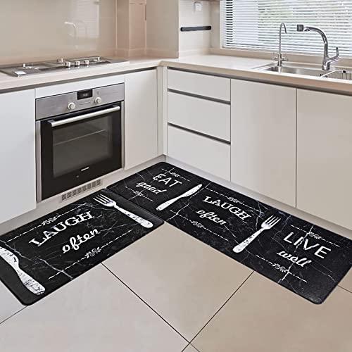 Dynadans Juego de 2 alfombrillas de cocina antifatiga, impermeables, antideslizantes, gruesas, acolchadas, para suelo, color negro (43 x 71 cm+43 x 119 cm)