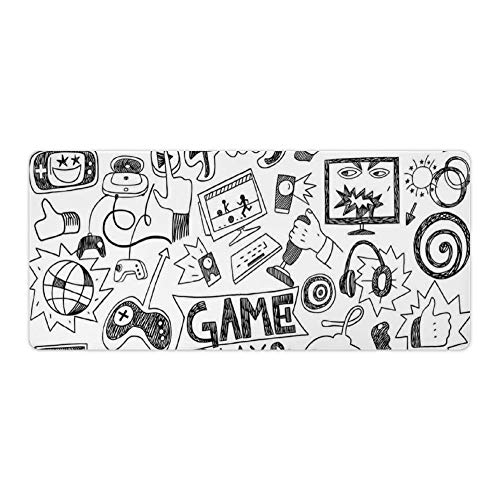 Extended Gaming Mouse Pad with Stitched Edges Large Keyboard Mat Non-Slip Rubber Base Monochrome Sketch Style Gaming Racing Monitor Device Gadget Teen 90's Desk Pad for Gamer Office 16x35 Inch