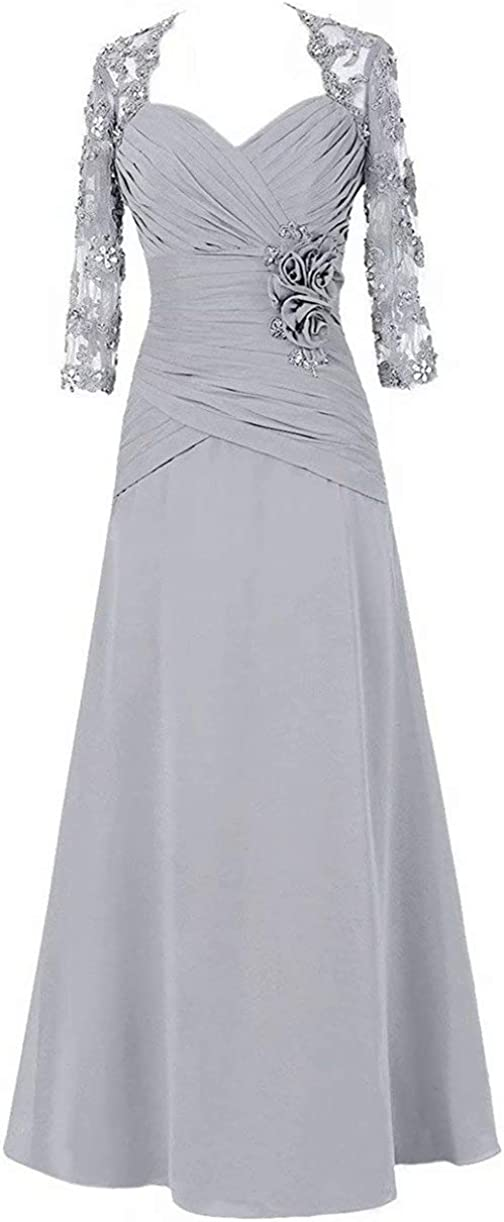 Mother of The Bride Groom Dresses Long Sleeve Lace Applique Formal Evening Mothers Gowns