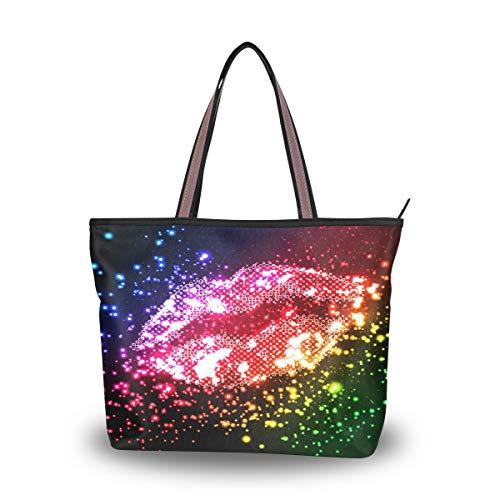 Bigjoke Glitzer-Handtasche für Damen, sexy Lippen, Valentinstag-Handtasche mit Tragegriff oben, Mehrfarbig - mehrfarbig - Größe: Large