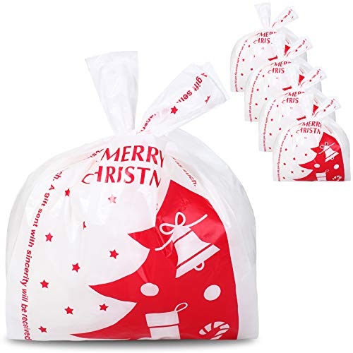 100 Pieces Christmas Shopping Bags Christmas Grocery Plastic Bags Candy Bags Gift Wrapping Bags Holiday Treat Bags for Christmas Party Favors (Christmas Tree Style)