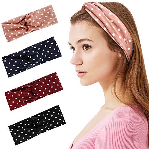 Hotelvs 4 Stück Boho Stirnband Damen 50s Haarband Rockabilly Kopfband Elastische Knoten Verdrehtes Stirnbänder Haarschmuck