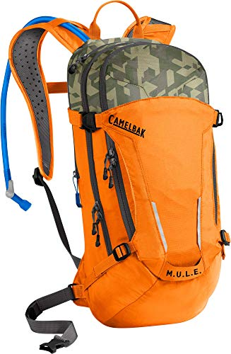 M.U.L.E. Mountain Biking Hydration Pack - Easy Refilling Hydration Backpack - Magnetic Tube Trap - 100 oz., Russet Orange/Camelflage