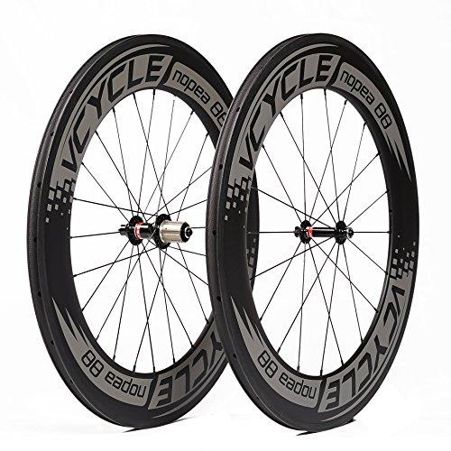 VCYCLE Nopea 700C Carbonio Ruote per Bici da Strada 88mm Copertoncino 23mm Larghezza Ultraleggero