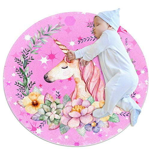Light Pink Unicorn Small Shag Soft Round Area Rugs Outdoor Circle Rugs for Boy and Girl Castle Playmat for Kids Bedroom Baby Room Best Gift for Your Children 3feet 4inch
