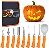 Pumpkin Knife Carving Kit, 9 PCS Carving Knife with Comfortable Anti-Slip Handle and Heavy Duty Stainless Steel, for Halloween Jack-O-Lanterns DIY Decorations