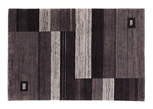 SONORA PURE handgeknüpfter Nepal Teppich Wolle in dk.grau, Größe: 200x300 cm