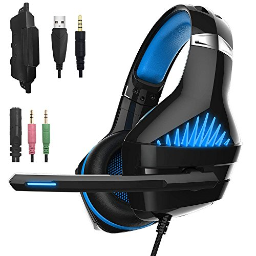 GM-1 Gaming Headset for New Xbox One PS4 PC Tablet Cellphone, Stereo LED Backlit Headphone with Mic by AFUNTA (Blue-2)