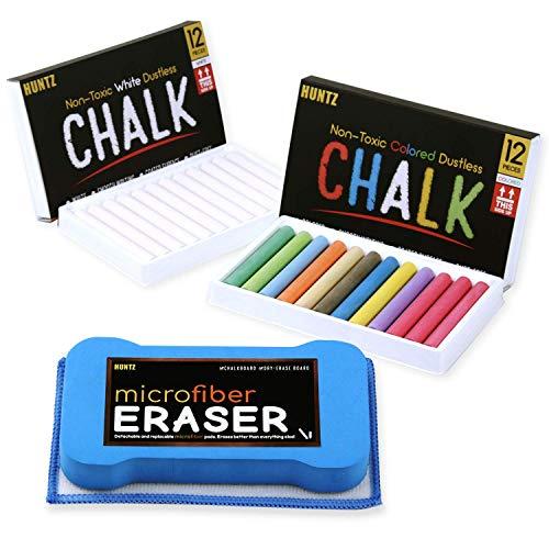 Huntz NonToxic White Dustless Chalk 12 ct Box and Colored Dustless Chalk 12 ct Box Bundle/Premium Microfibre Eraser