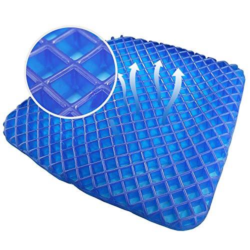 SHD Orthopädisches Gelsitzkissen, Gelkissen, Gel Sitzkissen 40x38cm mit innovativer Honigwaben Gel Konstruktion und rutschfestem Bezug für Auto, Büro- & Rollstuhl blau/grau