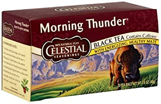 Celestial Seasonings Black Tea, Morning Thunder with Maté, 20 Count (Pack of 3)