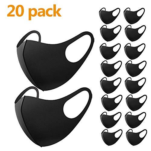20 Stück Mundschutz Maske, Staub Gesichtsmaske, Fashion Unisex Face Masks, wiederverwendbare und waschbare Maske zum Laufen, Radfahren, Skifahren, Outdoor-Aktivitäten (20 schwarz)