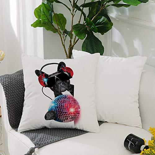 HUIHUIXIANG Washable Cushion Covers 20x20 Inch,Music Decor,DJ Bulldog Listening to Music with a Fancy Disco Ball Puppy Enjoy,Square Decorative Throw Pillowcases for Livingroom Sofa Bedroom 50cmx50cm