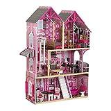 KidKraft 65944 Casa de muñecas de madera Bella para muñecas de 30cm con 16 accesorios incluidos y 3 niveles de juego