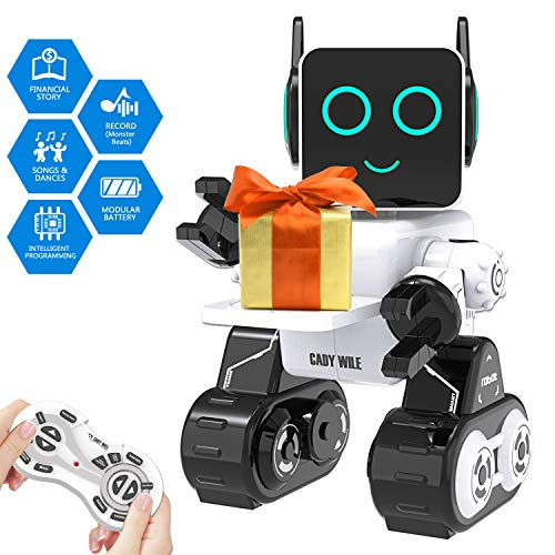 Robot Toy for Kids Smart RC Robot for Kids with Touch and Sound Control Robotics Intelligent Programmable Robot with Walking Dancing Singing Talking Transfering Items,Good Gift for Boys Girls (White)