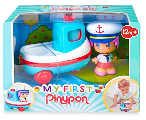 Pinypon - My First, Happy Vehículos Barco, Mis primeros transportes, barco de juguete con ruedas, flota en la bañera, y una minifigura de capitán con caras de distintas emociones, FAMOSA (7000