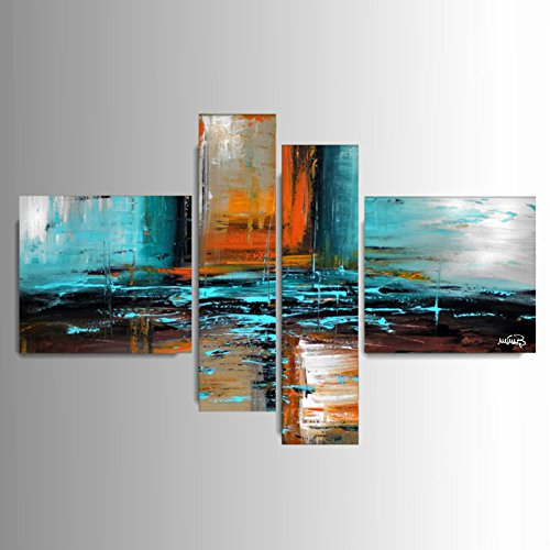 ART MMB 'Avventura - 4 Quadri Moderni Astratto Colore Marrone Azzurro Arancione Nero Bianco Dipinto A Mano su Tela Gia' INTELAIATO