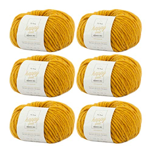 MyOma Alpaka Wolle häkeln -6X Happy Wool Alpaca Mix Sonne (Fb 53)- 6 Knäuel Wolle gelb + GRATIS Label – Wolle mit Alpaka – 50g/80m – Nadelstärke 7-8mm –Mischwolle zum Häkeln – Wolle zum Häkeln