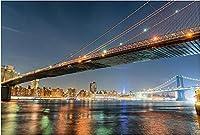 ナンバーキットによるDIY5Dダイヤモンド絵画-ブルックリンブリッジマンハッタンニューヨーク市アメリカ建築-クリスタルラインストーン刺繡絵画5Dダイヤモンド絵画キット50X60cm