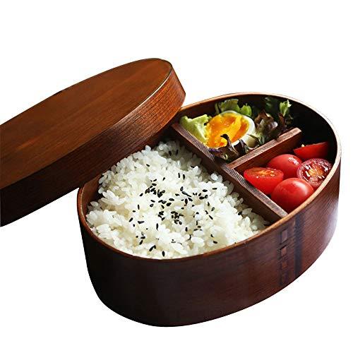 WPCBAA Boîte à Lunch en Bois Bol à Riz Fait Main Bento Japonais Peinture Naturelle Boîte à Sushi Vaisselle de Vaisselle Vaisselle
