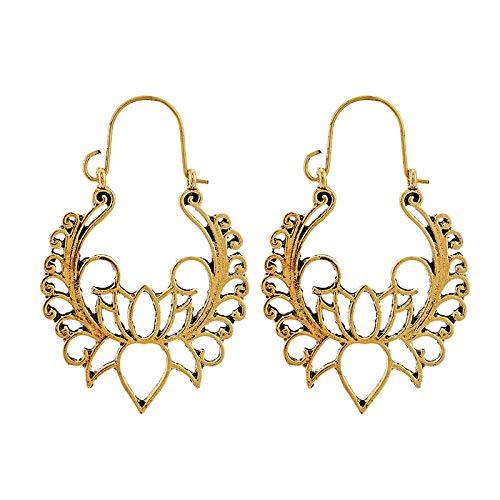FEARRIN Pendientes para Mujer Stud Bohemia Gold Vintage Pendientes Colgantes Accesorios de joyería India Lotus WomenPendientes brincos Gold