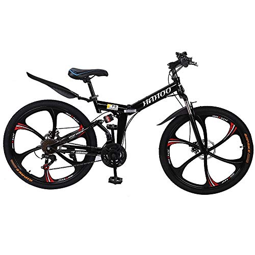 26 Inch, 21 Speed Folding Mountain Bike with Dual Disc Brakes, Non-Slip Full Suspension Geared Bicycle for Man Adult and Young Teens (Black)