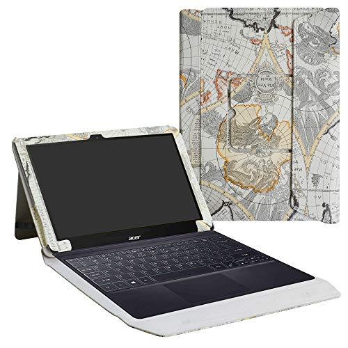 """Acer Switch 3 Custodia,LiuShan Staccabile 2-In-1 Portfolio del basamento della copertura di caso Case Cover per 12.2"""" Acer Switch 3 Windows 10 Tablet,Map White"""