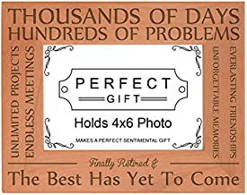 Retirement Gift Finally Retired The Best Has Yet to Come Natural Wood Engraved 4x6 Landscape Picture Frame Wood