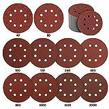 Discos de Lijar de 80 Piezas, AmzKoi Papeles de Lija 125 mm Velcro Lijas para Lijadora Orbital Aleatoria 10 * P40 / P80 / P100 / P120 / P240 / P400, 5 * P800 / P1000 / P1500 / P2000 Granos Mixtos 8
