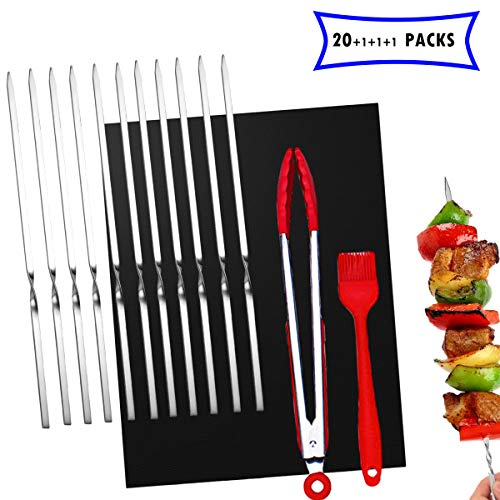 Qianqian Spiedini BBQ Riutilizzabili 30cm,spiedini per Grigliare Piatti, Accessori per Grill per Posate da Barbecue, per Carne Verdure BBQ Bastone, Spiedini in Acciaio Inox.