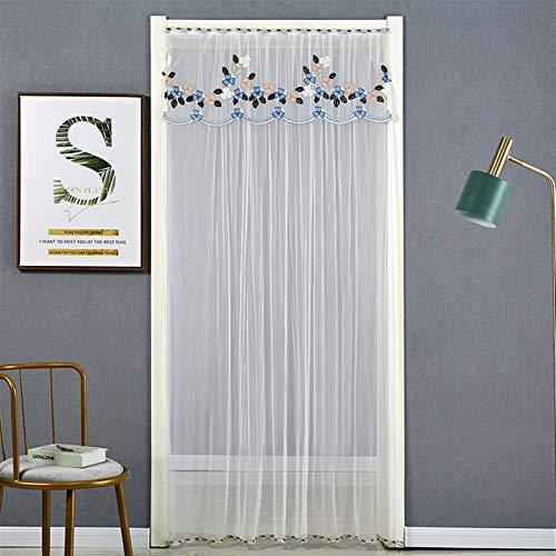 Liveinu - Tenda a pannello trasparente in tulle per porte e finestre, tende giapponesi Noren per porta, divisorio con asta di tensione, 99 x 198 cm, stile 12