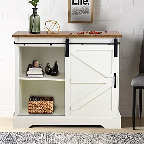 """MAISON ARTS Sideboard Storage Cabinet with Sliding Door Modern Farmhouse Kitchen Buffet Coffee Bar Cabinet Cupboard TV Stand Console Table for TVs up to 34"""" for Kitchen Dining Living Room,Oak + Ivory"""