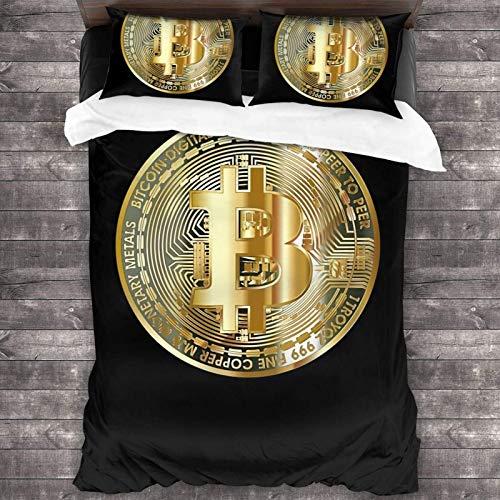 Golden Bitcoin Coin Bitcoin Investor Logo Crypto Fan 3-Piece Bedding Set 86x70 inch Super Soft Warm Duvet Cover, Queen Bedding Set with 2 Pillow Cover