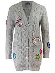 Princess goes Hollywood Cables & Patches Zopfstrick Cardigan Strickjacke mit Aufnäher