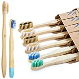 Bestylez 6 Family Pack Bamboo Toothbrushes, Medium Bristle & Extra Soft Toddler Spiral Bristle, Natural Wooden Biodegradable Toothbrushes