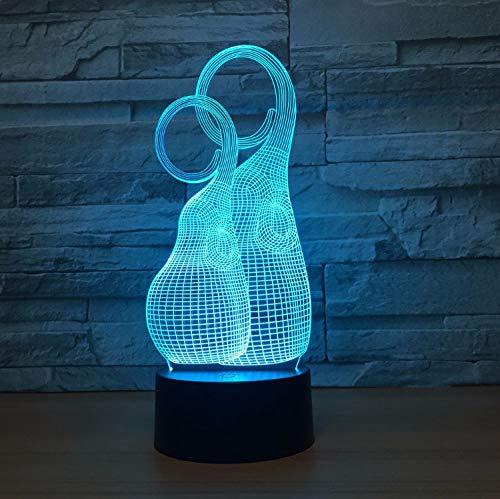 Acrílico Inicio Lado Led Touch Night Light Desk Table House Decor 7 Cambio De Color Boy Kid Toys 3D Portable Visual Usb Botella De Dibujos Animados