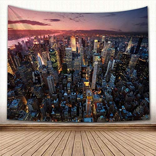 LOVEYF Tapiz,Majestic New York City Tapices con Vista Aérea Nocturna Zona De Construcción Moderna Bajo La Cálida Puesta De Sol Skyline Decoración Vintage Trippy Large Manta Decoración para Dormitorio
