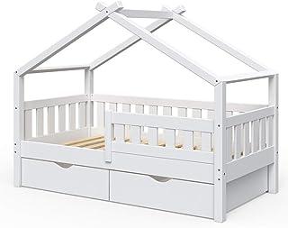 VitaliSpa Design Kinderbett 160x80 Babybett Jugendbett 2 Schubladen Lattenrost Weiß