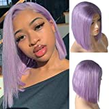 Benafee Lilac Lace Front Human Hair Bob Wig Silky Straight Middle Part Bob Wigs Glueless Pre Plucked 180 Density Swiss Lace Bob Wig 10 Inch