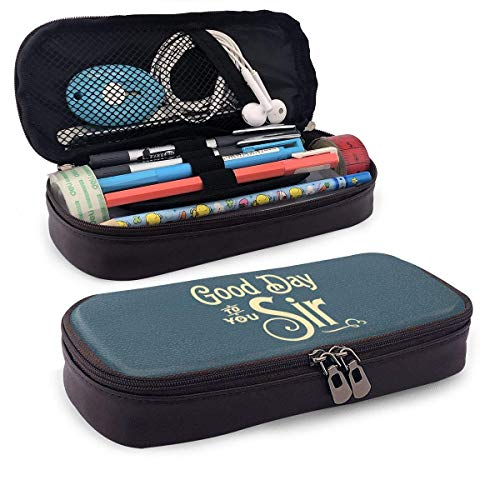 Good Day to You Sir Leather Pencil Case Pencils Highlighters Bag for School Office Supplies Students