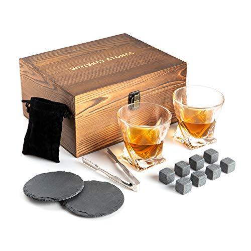 Cubetti di ghiaccio in granito, set regalo con 2 bicchieri da whisky, 8 pietre refrigeranti, 2 sottobicchieri in ardesia, pinza e scatola in legno, set da whisky con pietre riutilizzabili per uomo