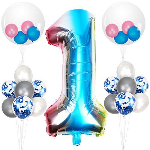 Herefun 23 Piezas Foil Globo Número Azul Arcoiris Gradient kit,  Gigante Numeros 0 1 2 3 4 5 6 7 8 9,  para La Boda Aniversario Bienvenida Al Bebé,  Cumpleaños Fiesta Decoración Adultos y Niños (1)